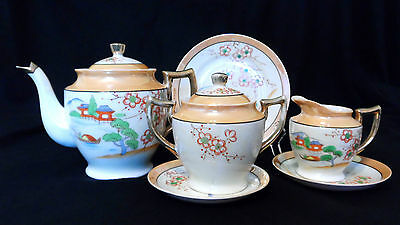 Vintage 7-Pc Tea Set Japanese Handpainted Luster Ware Hotta Yu Shoten 1920-30s