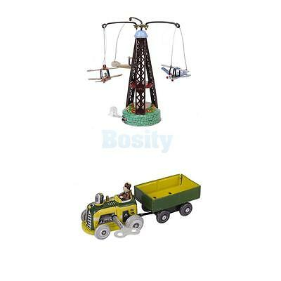 2x Wind-up Spinning Carousel Airplanes Tractor Clockwork Collectible Tin toy