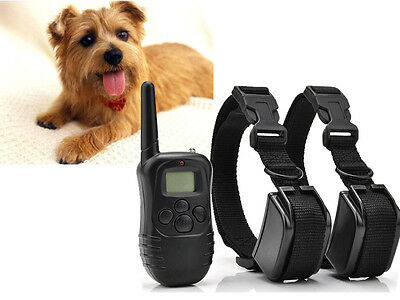 LCD 100 Level Electric Shock Vibra Remote Pet For 2 Dog Training Collar No Bark