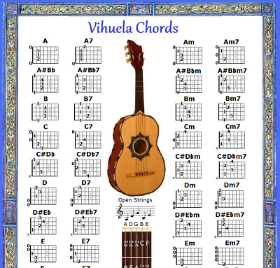 Mexican Vihuela Chord Chart & Note Locator - Small Chart