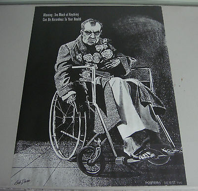 Bob Dara Vintage Political Poster Satire Nixon Wheelchair Hazardous to health 70