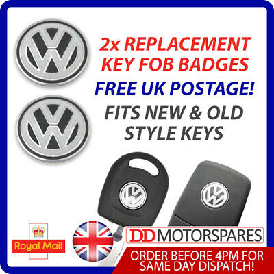 2 x VW KEY FOB/REMOTE BADGE STICKER BLACK EMBLEM  GOLF BORA PASSAT GTI TDI R32