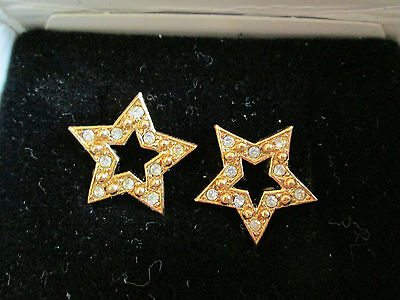 Vtg.avon Sparkle Star Crystal Earrings W/surgical Steel Posts 1992**new In Box**