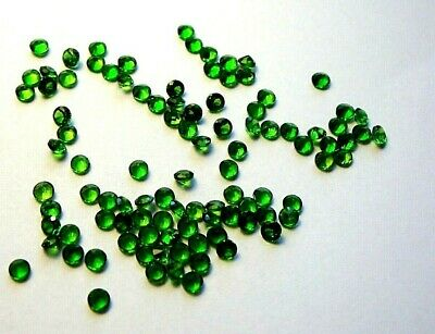3x Chromdiopsid - Rund facettiert Grün/green IF 1,0mm  (CD003)
