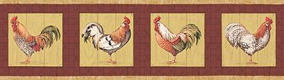 Roosters Farming Country Animals Kitchen Laundry Bathroom Wallpaper Border SALE!