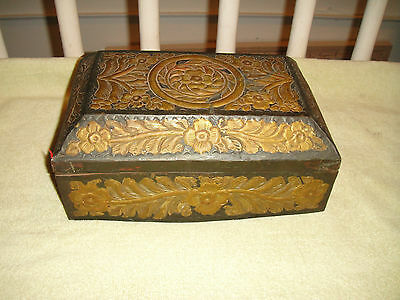 Antique Victorian Gothic Trinket Letter Box-Metal W/Floral Patterns-Unusual