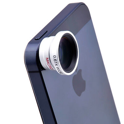 Detachable Fish-Eye Lens Wide Angle Micro Lens 3in1 Kits for iphone 5 5C 5S 6 4S