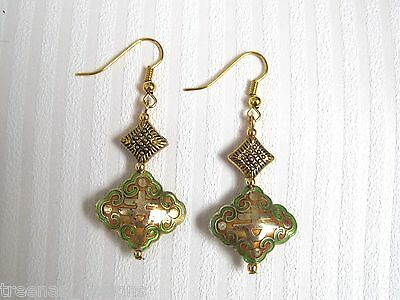 *ORIENTAL STYLE GREEN GOLD CLOISONNE RHOMBUS BEAD* Beaded GP Charm Earrings GIFT