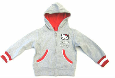 Girls Hello Kitty Grey & Red Zip Up Hooded Jacket / Hoody with Pockets