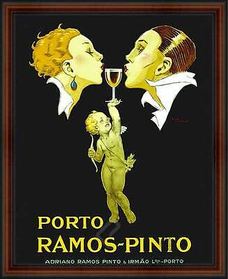 Porto Ramos-Pinto by Rene Vincent. Vintage Reproduction Poster. Walnut Frame