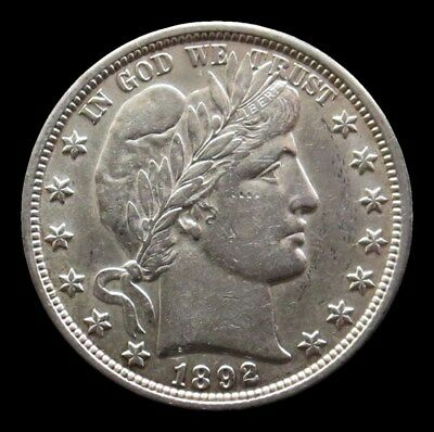 1892 SILVER BARBER HALF DOLLAR COIN ORIGINAL ABOUT UNCIRCULATED CONDITION 1st