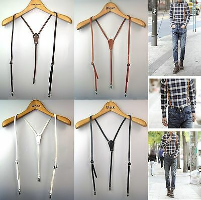 New Mens Womens Genuine Leather Suspenders Clip-on Y-Back Braces Retro 4 Colors