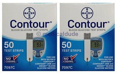 Bayer Contour Blood Glucose 100 Strips (2 Boxes of 50) Test Strips Exp 1-Year+