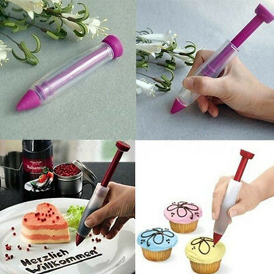 Silicone Plate Pen Cake Cookie Pastry Cream Chocolate Decorating Syringe New OV