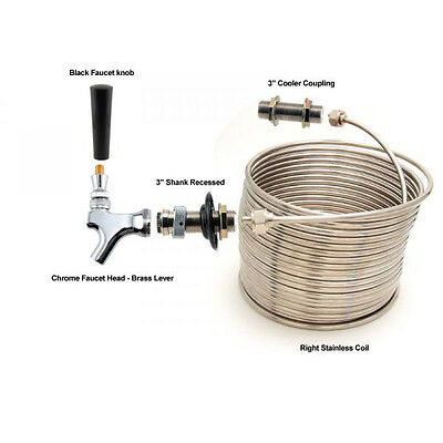 Single Faucet Jockey Box - 50' Coil - Faucet Hardware Kit w/out Cooler - Picnic