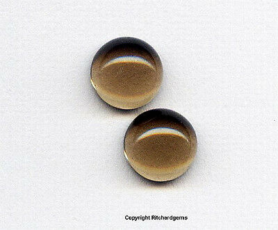 Semi Precious 5 mm Loose Smokey Smoky Quartz Cabochon Matched Pair AAA For TWO