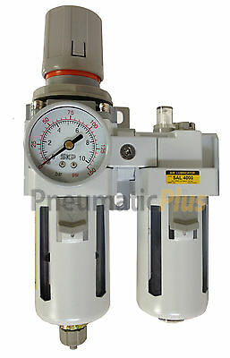 "Filter Regulator Lubricator Piggy Back FRL 1/2"" NPT - Manual Drain w/ Poly Bowl"