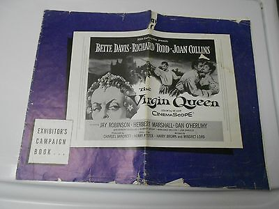 1955 VIRGIN QUEEN Press Book Kit Bette Davis Richard Todd Joan Collins VG-