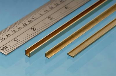 Albion Alloys Brass U Channel 2.5 x 2.5 x 2.5 mm x 305 mm From Chronos Ref UC3