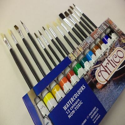 Artists Brushes And Water Colours Paints Set Picture Equipment Kit Art Supply