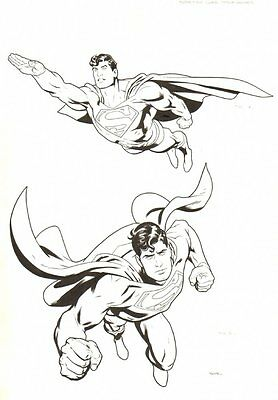 Superman Style Guide - 2 Figures on 1 Board - Signed original art by Ryan Sook