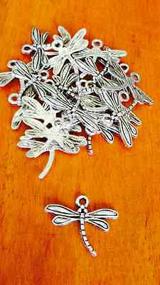 Antique Silver Dragonfly Charms / Pendants x 20