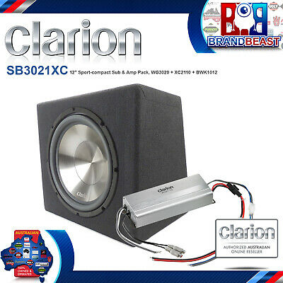 "Clarion Sb3021Xc 12"" 1000W Active With Amplifier Subwoofer Car Sub + Cables"