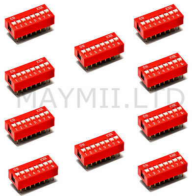 10pcs High Quality Red DIP Switch 2.54mm Pitch Slide Type 8-Bit 8 Positions Ways