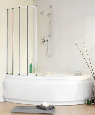 Volente Folding Bath Shower Screen | For Any Shape Bath, whirlpool or jacuzzi