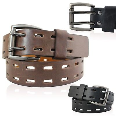 "Mens Real Leather Belts 1.5"" Belt In Black And Brown With 2 Prong Buckle 0805"