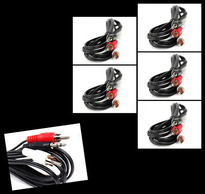 5X 5Ft 3.5Mm Aux Rca Phono Male Audio Stereo Jack Black Splitter Cable Adapter