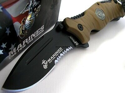 USMC MARINES MTECH Reaper Folder Assisted Opening Knife CLAM Pack MA1020BT