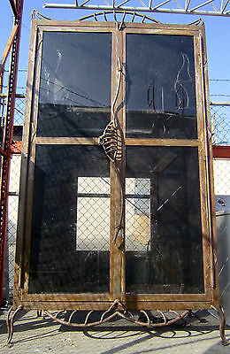Custom Made 8 Ft Wrought Iron Steel Medieval Gothic Armoire W/ Glass Doors