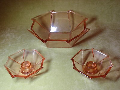 Vintage Fostoria art deco geometrical bowl and candle holders George Sakier
