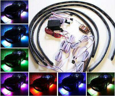 7 Color LED Strip Under Car Tube underglow Underbody System Neon Lights Kit A
