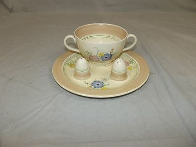 Clarice Cliff Soup Matana Pattern Set With Plate, Bowl, Salt and Pepper