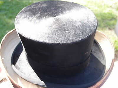 rare Vintage antiqueTop orig. Hat and Leather Hat box signed piccadilly LONDON