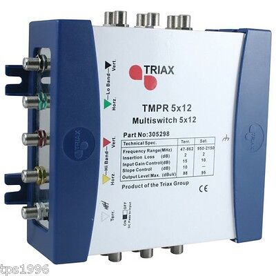 5 x 12 Multiswitch Triax TMPR 5 Input 12 Output TV Satellite Distribution Switch