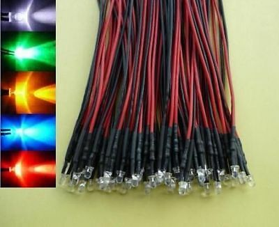 (50 PCS) 3mm Mixed Colour Flashing Wired LED 5v 12V green red blue white yellow