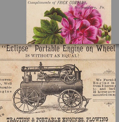 1800s Steampunk Frick Traction Eclipse Portable Tractor Engine Plow Farm Ad Card