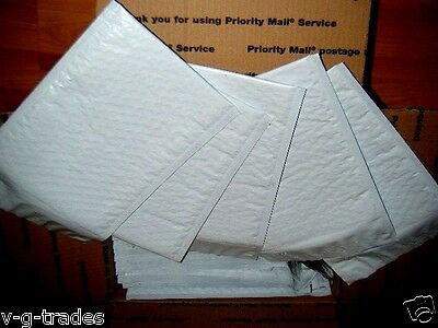 LOT OF 100 - 8.5 X 14.5 POLY BUBBLE SHIPPING MAILERS #3  WHITE POLY ENVELOPES