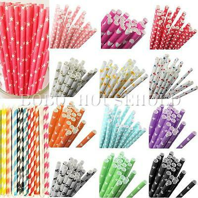 25Pcs Colorful Paper Drinking Straws Vintage Wedding Party Decoration 9 Styles
