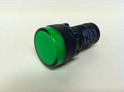 22MM LED Pilot Indicator Light 120v 115v 110v AC/DC GREEN
