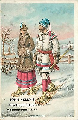 Advertising Card John Kelly's FINE SHOES Couple SNOWSHOOING Snowshoes 1910 Card