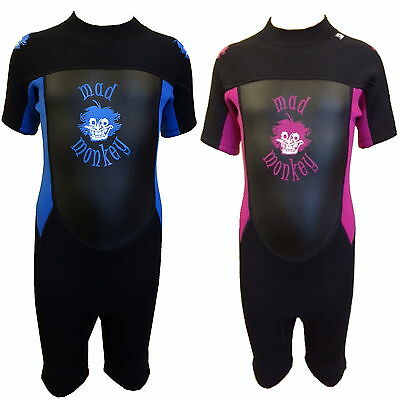 MADMONKEY KIDS CHILDRENS 3mm SHORTIE SHORTY WETSUIT AGES 1 -15 toddler junior