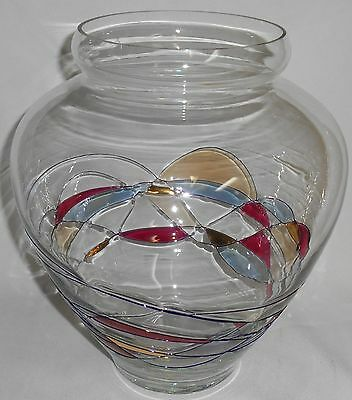 Romanian Art Glass MILANO Stained Glass Style LARGE VASE Nice!