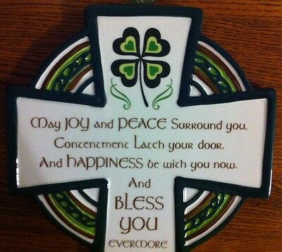 IRISH CERAMIC PRAYER CROSS HAND PAINTED Shamrock St. Patricks Day Green Mint!