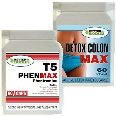 T5 60 Phenmax Phentramine Strong Diet Weight Loss Pills + 60 Detox Colon Cleanse