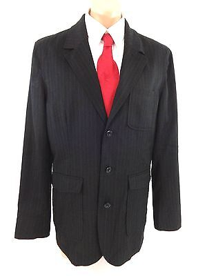 Gap Mens Black Wool Pinstriped Suit Jacket Sport Coat Size L Fabulous!