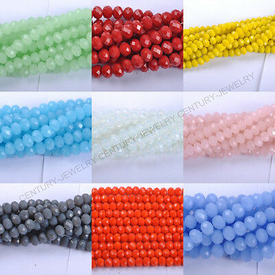 40Pcs Top Quality Czech Glass Faceted Rondelle Spacer Charms Beads 8X6MM